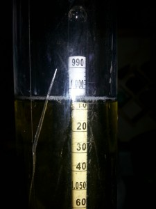 Gravity reading from 10/26/13 near the end of fermentation on my first batch of beer.  Wort around 65°, better picture than the previous one.